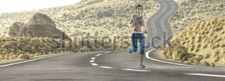 Jong meisje lopen snelweg vrouw 3d render Stockfoto © orla