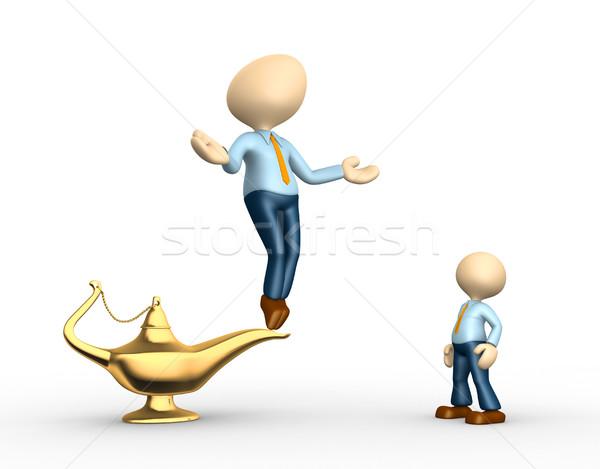 Lámpa 3d emberek férfiak személy arany férfi Stock fotó © orla