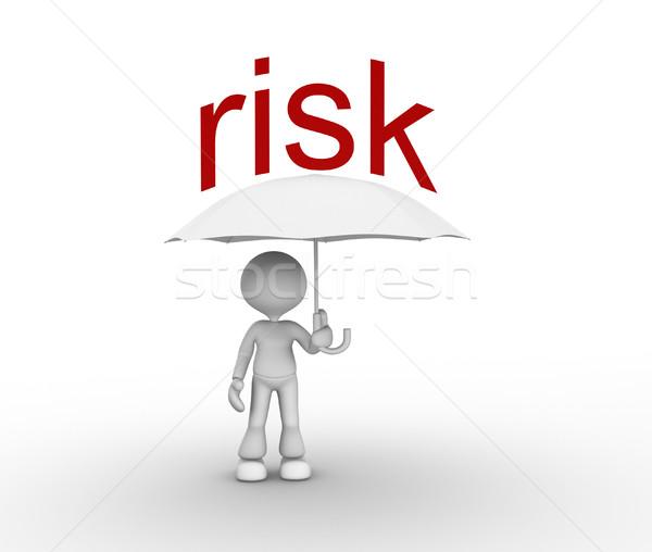 Ryzyko 3d osób człowiek osoby parasol biznesmen Zdjęcia stock © orla