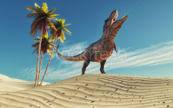 Dinosaur in desert thirsty Stock photo © orla