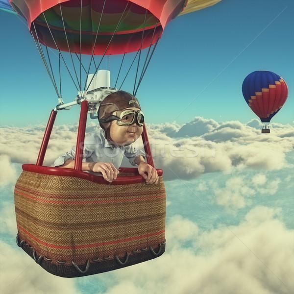 Hombre globo de aire caliente 3d ilustración cielo verde Foto stock © orla
