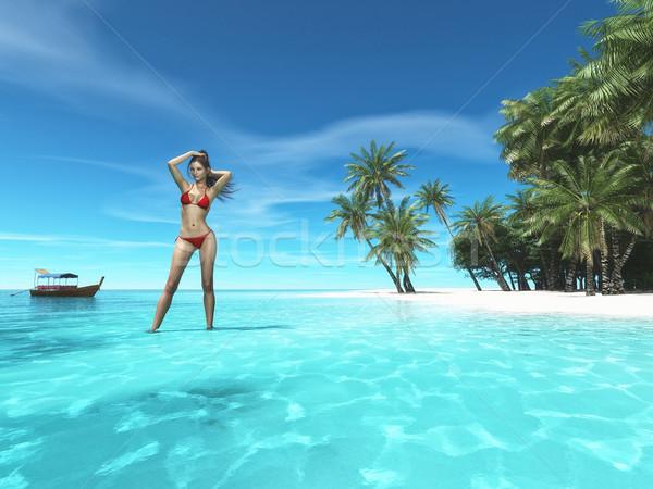 Mooie vrouw tropisch strand oceaan palmbomen rij boot Stockfoto © orla