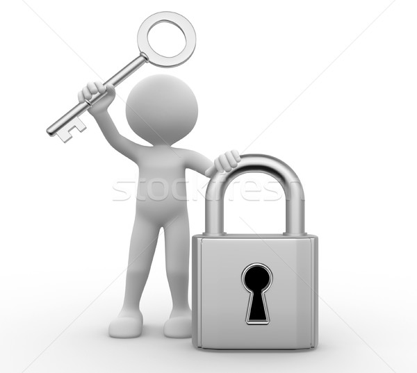 3D hombres candado claves 3d metal Foto stock © orla