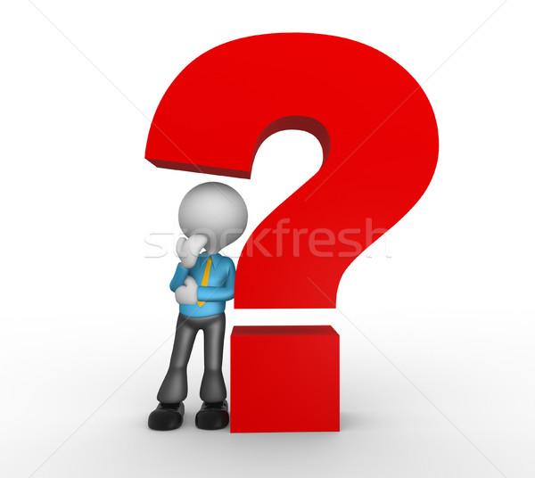Stockfoto: Vraagteken · 3d · mensen · man · persoon · teken · helpen