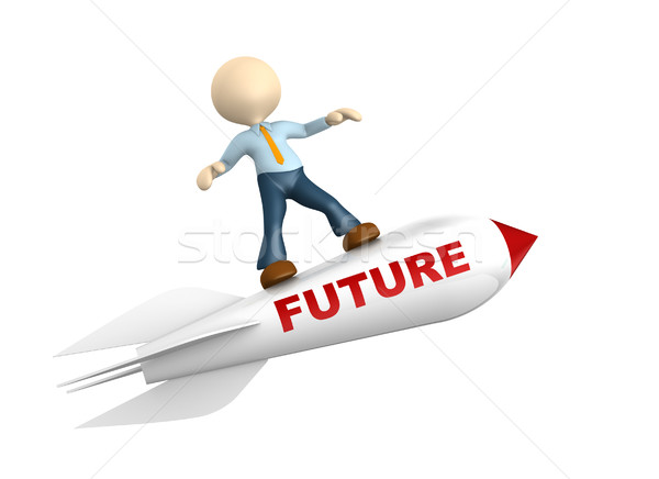 3d people - man, person with a rocket. Future concept Stock photo © orla