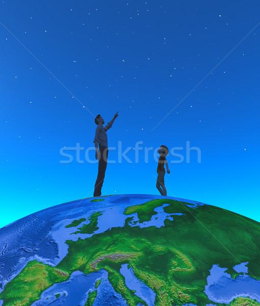 Férfi gyermek holdfény földgömb kép 3d render Stock fotó © orla