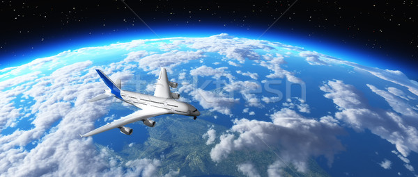 Stock photo: Airplane flying over planet