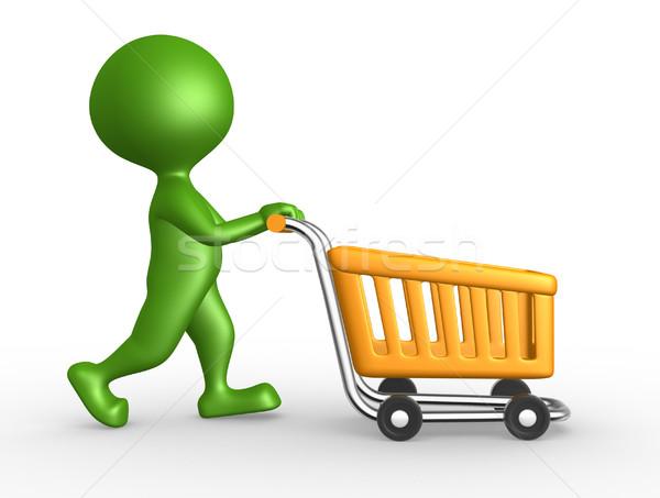 3d man with a shopping car  Stock photo © orla