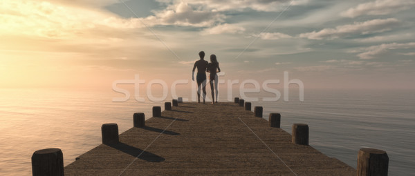 Silhouette of a couple Stock photo © orla
