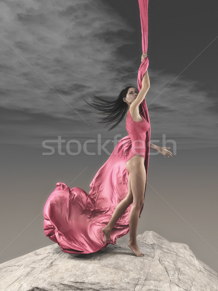 Young girl practicing gymnastic exercise Stock photo © orla