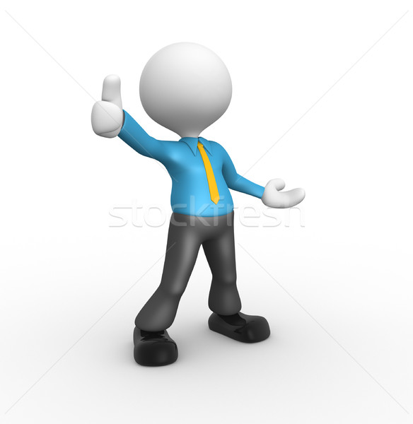 3d people - man, person standing near to an ok icon Stock photo © orla
