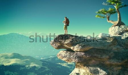 Man on a mountain overlooking the sea Stock photo © orla