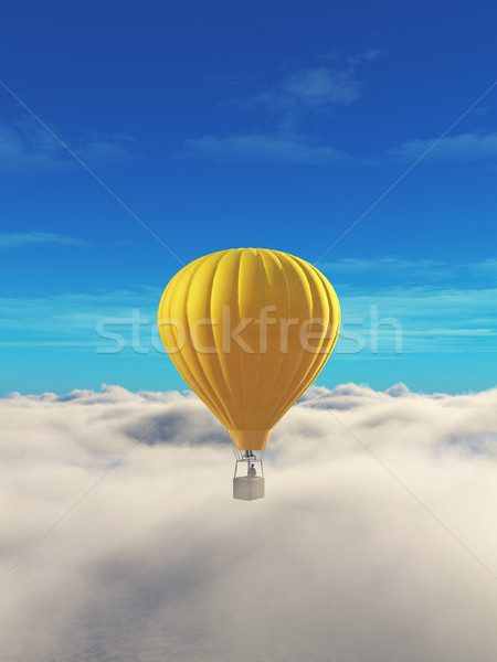 Stock photo: Man in a hot air balloon yellow