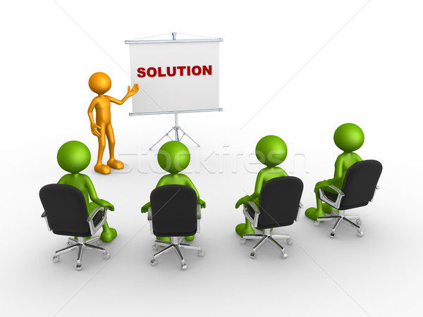 Flip chart and word 'Solution' Stock photo © orla