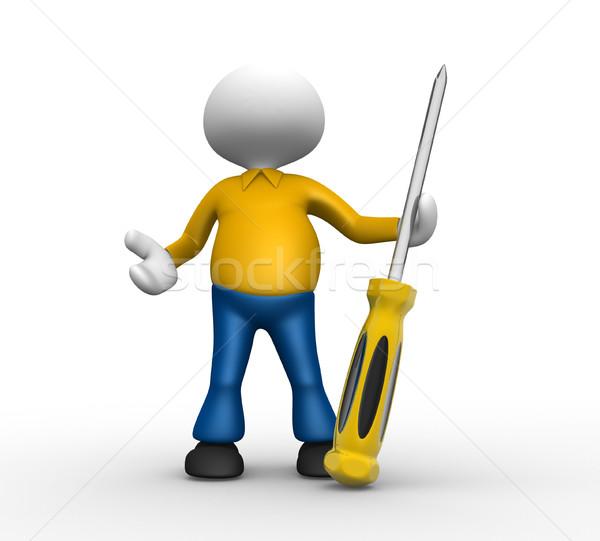Cacciavite la gente 3d uomo persona costruzione lavoro Foto d'archivio © orla