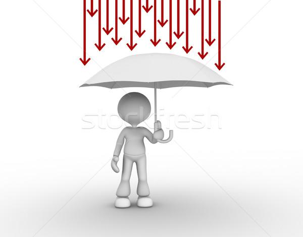 Paraguas 3d personas hombre persona flechas protección Foto stock © orla