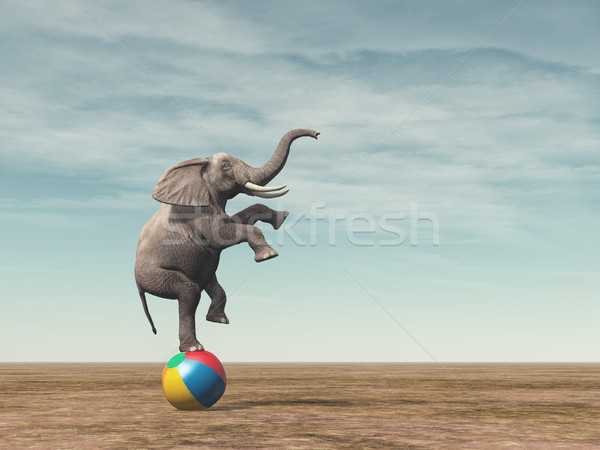 Surreal image of an elefant balancing Stock photo © orla