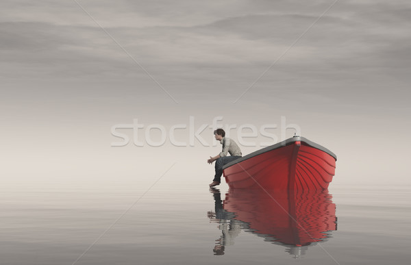 Homem borda barcos ver lago 3d render Foto stock © orla