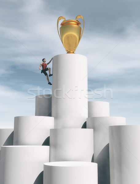 Teenager escalates a cylinder  Stock photo © orla