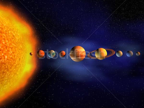 Naprendszer diagram bolygók 3d render tudomány csillag Stock fotó © orla