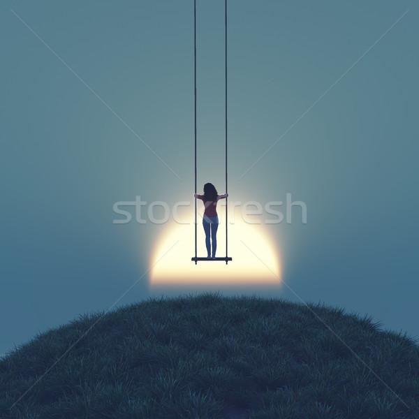 Lány felfelé hinta égbolt naplemente 3d render Stock fotó © orla