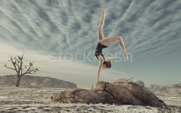 体操選手 屋外 ビッグ 岩 3dのレンダリング ストックフォト © orla