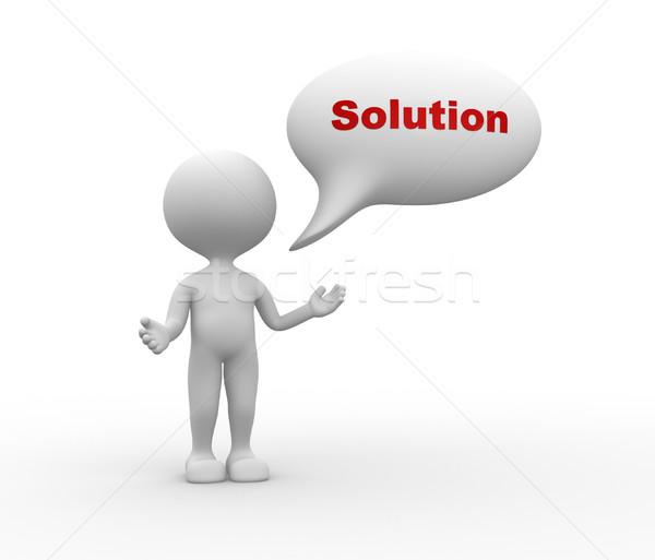 3d pessoas homens pessoa balão de fala palavra solução Foto stock © orla