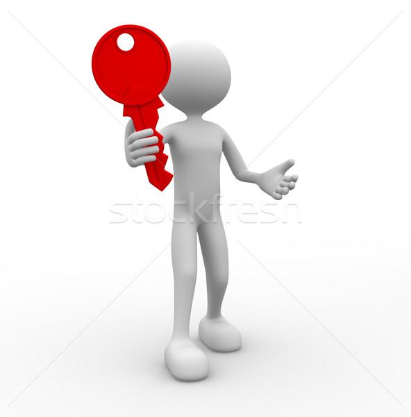 Kulcs 3d emberek férfi személy tart üzlet Stock fotó © orla