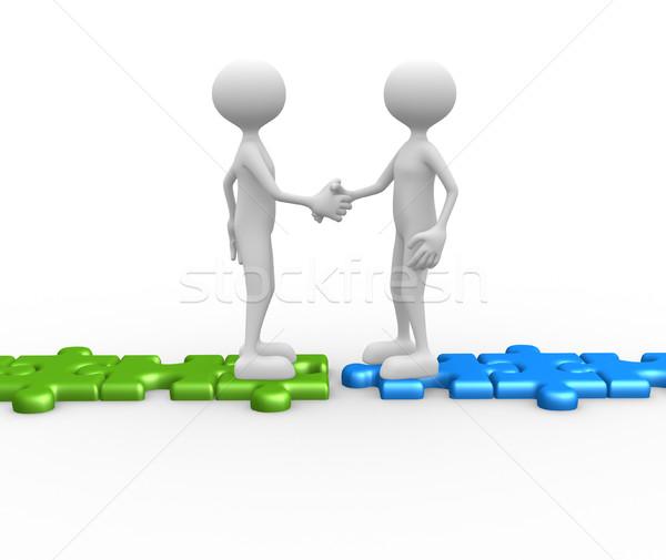 Kézfogás kirakó darabok 3d emberek férfi személy munka Stock fotó © orla