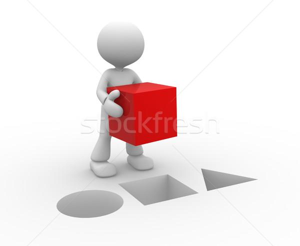 Rosso cubo la gente 3d uomo persona business Foto d'archivio © orla