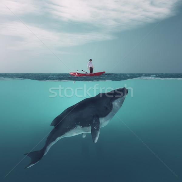Bálna férfi csónak lebeg fölött hatalmas Stock fotó © orla