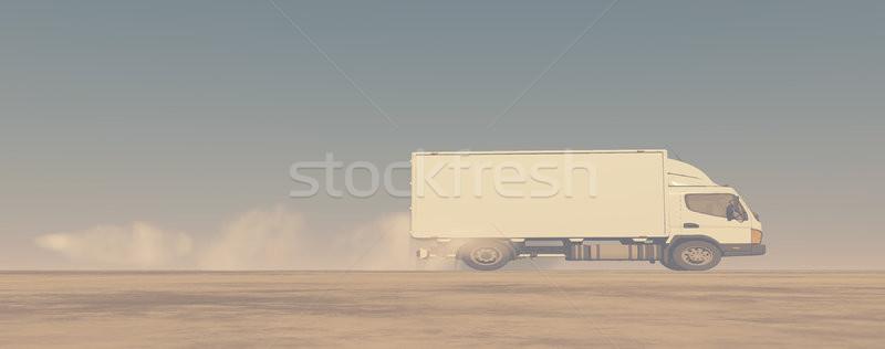 белый дым исчерпывать трубы грузовика 3d визуализации Сток-фото © orla