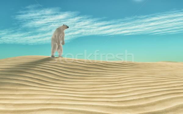 полярный медведь пустыне 3d визуализации иллюстрация природы несут Сток-фото © orla