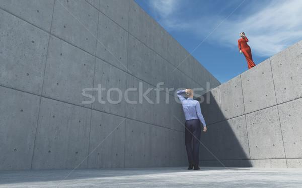Fiatalember külső lány néz pózol felfelé Stock fotó © orla