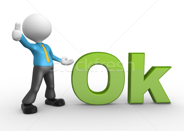 3d people - man, person with word 'OK' Stock photo © orla