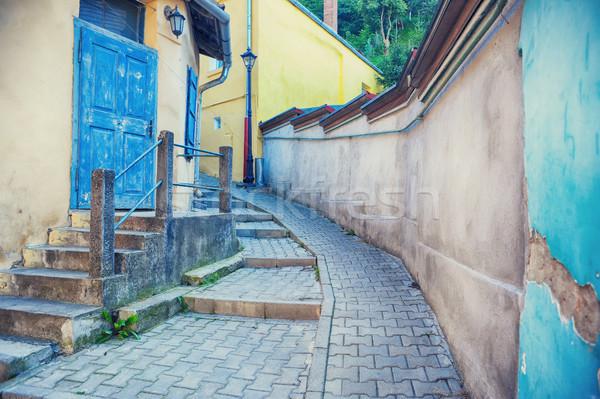 Médiévale vue sur la rue forteresse maison texture rue Photo stock © orla