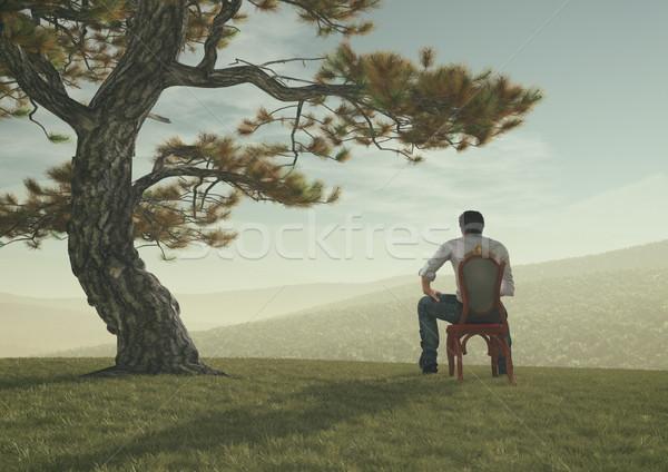 Jonge man zitten boom heuvel bewonderen 3d render Stockfoto © orla