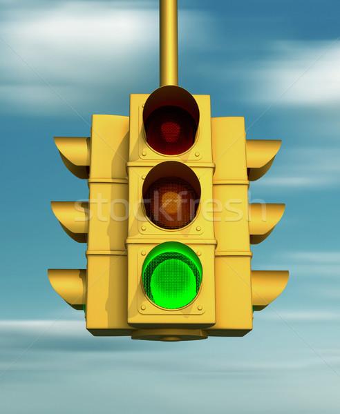 Trafik ışığı 3d render sokak imzalamak trafik güvenlik Stok fotoğraf © orla
