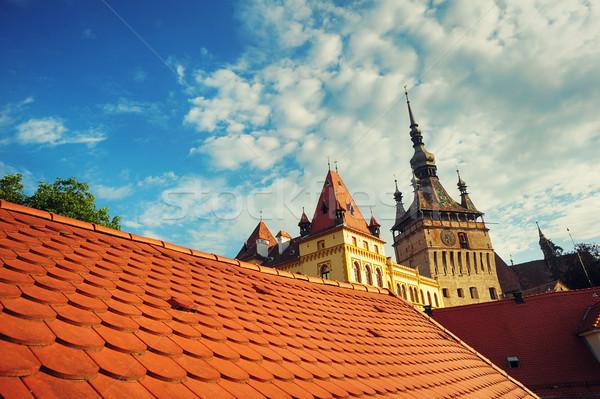 Kilátás tető óra torony erőd épület Stock fotó © orla