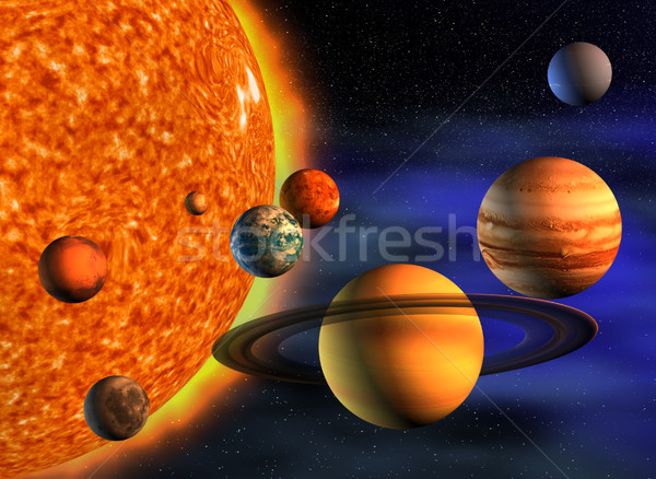 Sistema solar planetas 3d render ilustração ciência estrela Foto stock © orla