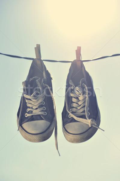 Vuile opknoping waslijn sport home Stockfoto © orla