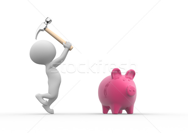 Breaking a piggy bank with a hammer  Stock photo © orla
