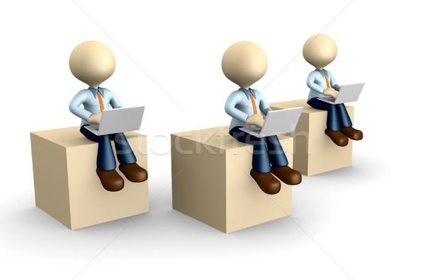 üzletember 3d emberek férfi személy laptop kockák Stock fotó © orla