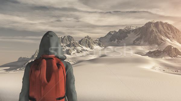 Fiatalember felfelé hegy csodál díszlet tél Stock fotó © orla