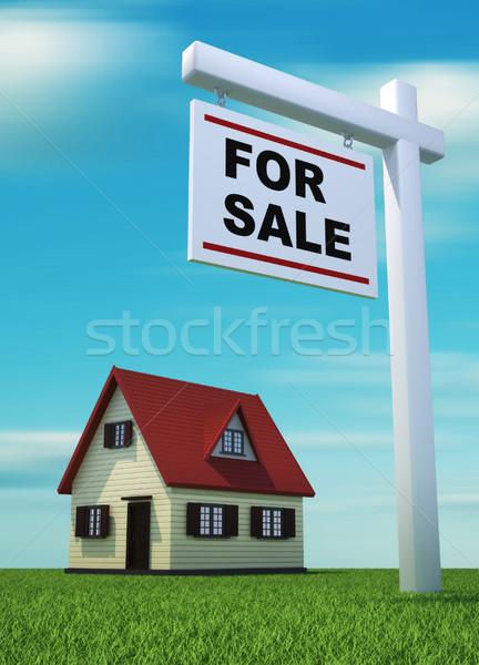 Photo stock: Maison · vente · rendu · 3d · illustration · herbe · maison