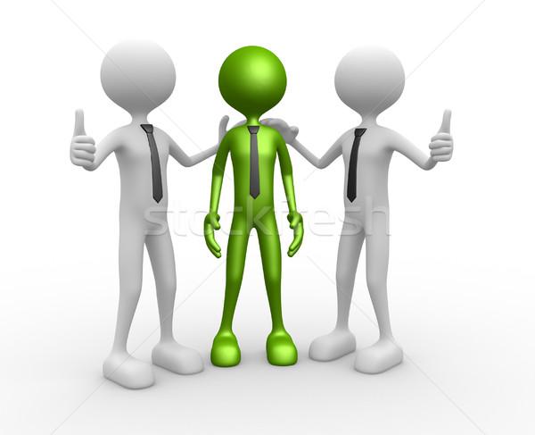 Felicitatie 3d mensen mannen persoon samen gelukkig Stockfoto © orla