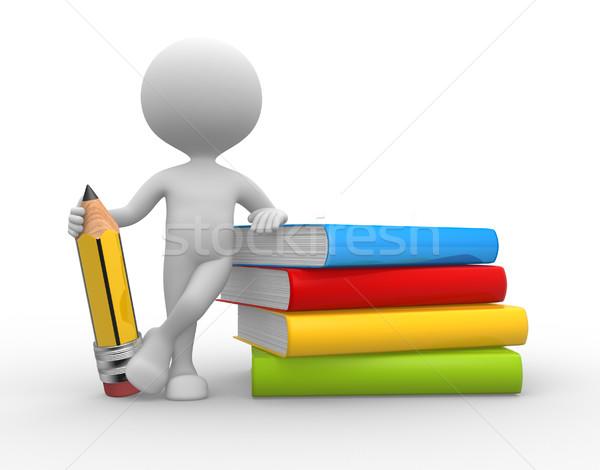 Boeken potlood 3d mensen man persoon boek Stockfoto © orla