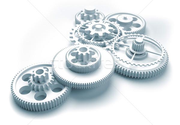Dişli mekanizma 3d render örnek iş çalışmak Stok fotoğraf © orla