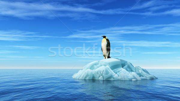 Penguen buzdağı okyanus 3d render örnek su Stok fotoğraf © orla