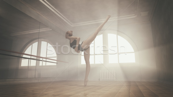 Stock fotó: Fiatal · gyönyörű · ballerina · tornaterem · 3d · render · illusztráció